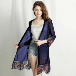 Floral Embroidered Long Sleeve Shrug