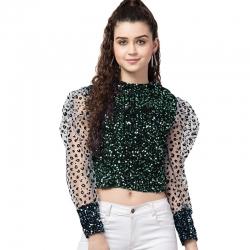 Balloon Sleeve Lace Sequins Waist Length Top