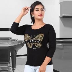 Littledesire Butterfly Print Cotton Women T-Shirt