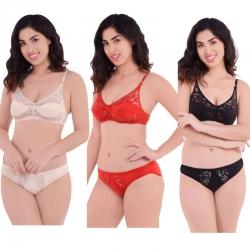 Net Lace Floral Design V-Neck Lingerie Bra Panty - 3 Set