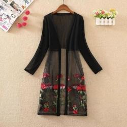 Floral Embroidered Long Sleeve Black & White Shrug