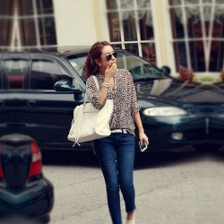 Leopard Print Chiffon Long Sleeve  Shirt