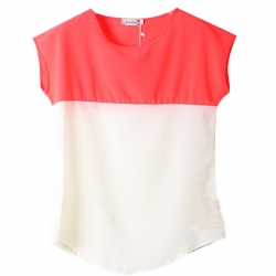 Crew Neck Stitching Short Sleeve Chiffon Top