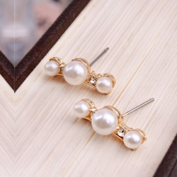 Imitation Diamond Pearl Earrings