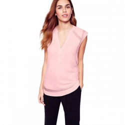 Short Sleeve Pink Chiffon Top