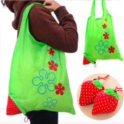 Strawberry Resuable Nylon Foldable Grocery Bag Retail Shopping Tote Bag