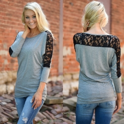 Batwing Long Sleeve Black Lace Top