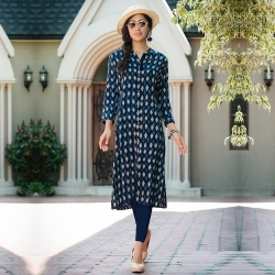 Front Open Three-Quarter Sleeves Printed Rayon Kurta