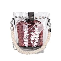 Sequin Bucket Shoulder Bag With Handle Bag