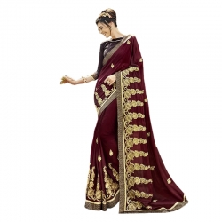 Littledesire Georgette Silk Embroidered Saree