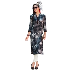 Printed Kurta with Mandarin Collar