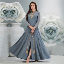 Littledesire Embroidered A-Line Long Stylish Georgette Kurta