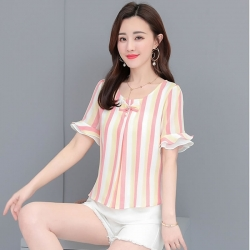 Littledesire O-Neck Petal Sleeve Pink Top