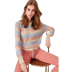 Littledesire Stone Striped Long Sleeve Sweater