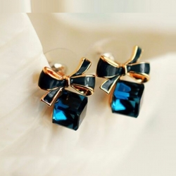 Littledesire Gold Bowknot Cube Square Crystal Earrings