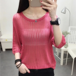 Littledesire O-Neck Hollow Out Loose Tops