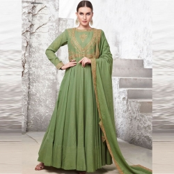 Littledesire Embroidered Green Long Gown With Dupatta
