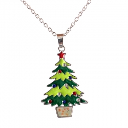 Christmas Tree Santa Claus Snowman Pendant Necklace