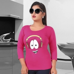 Littledesire Funny Cartoon Print Cotton Women Pink T-Shirt