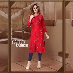 Littledesire A-Line Printed Straight Red Kurta