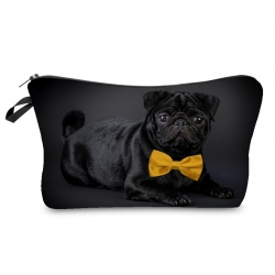 Printed 3D Black Pug With Bow Travel Pouch Bags