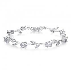 AAA Zircon White Leaf Chain & Link Bracelet