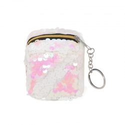 Sequins Square Clutch Mini Small Wallet With Key Ring - 2.5 inch