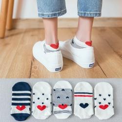 Cute Heart Women Cotton 3D Socks 5 Pairs