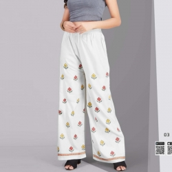 Littledesire Embroidered Straight Rayon White Palazzo
