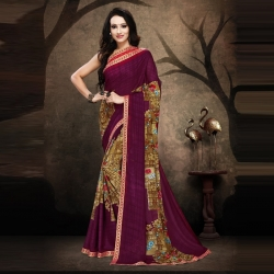 Littledesire Rennial Floral Printed Purple Saree With Blouse