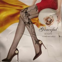 Women Black Fishnet High Waist Stocking Socks