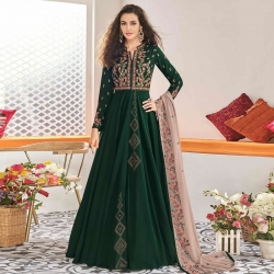 Stylish Embroidered Swarovski Work Gown With Dupatta