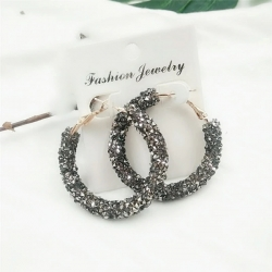 Shiny Crystal Hollow Round Circle Earrings