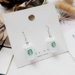 Creative Coffee Milk Tea Cup Dangle Earrings