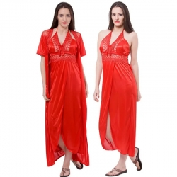 Latest design Satin Long Wrap Gown & Nighty