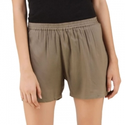 Cotton Blend Army Colour Linen Shorts