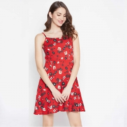 Red Floral Print Shoulder Strap Dress