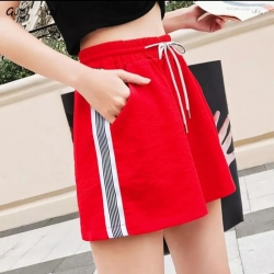 Women Red Side Striped Shorts