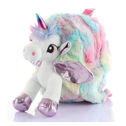 Unicorn Faux Fur Rainbow Colour Shoulder Backpack