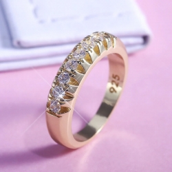 Round Shape Golden Zirconia Micro Paved 925 Ring