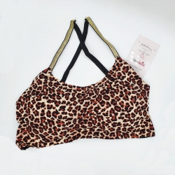 Leopard Print Back Cross Stripes Bralette