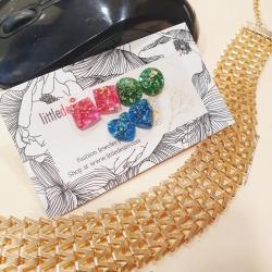 Sequins Glitter Glass Stud Earrings 3 pcs Set