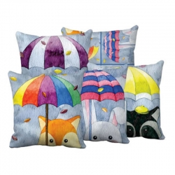 Cute Design Printed Decorative Throw Pillow Covers 16 x 16 inch Pack of 5