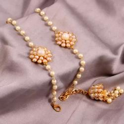 Classic Pearl Moti Bhaiya Bhabhi Designer Bracelet Rakhi Set - 2 pcs