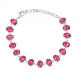 Plated Gleaming Pink Crystal Adjustable Bracelet