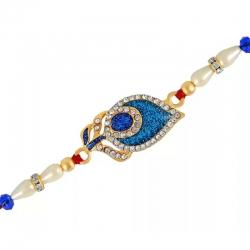 Royal Blue Peacock Feather Crystal Pearl Rakhi