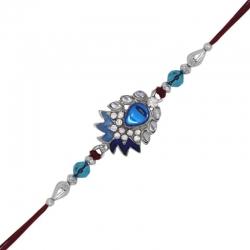 Crystal Rhodium Plated Blue Floral Feather Rakhi
