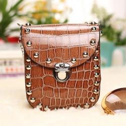 Rivet  Crocodile Pattern Sling Bag