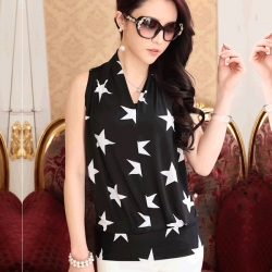 Korean Silk Sleeveless Star Top