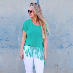 Short Sleeve O-neck Loose Tassel Top
